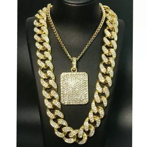 Mens cuban ice bling gold necklace chain set
